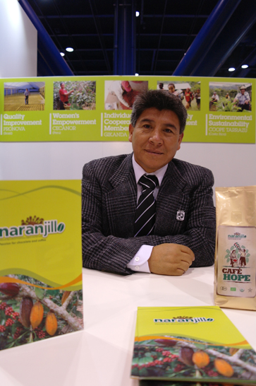 Rolando Herrera Ramirez, president of Naranjillo Cooperative in Peru, spoke to potential coffee buyers at Fair Trade USA's booth at the Specialty Coffee Association of America's Event in April, 2010. (All photos by Katie Barrow)