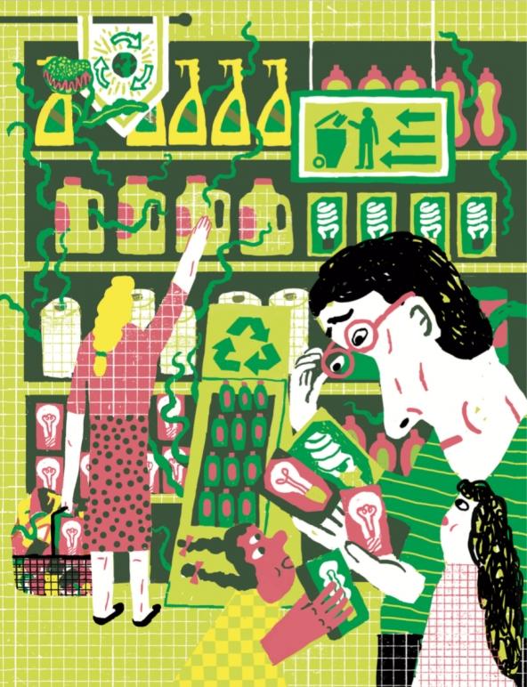 Net green illustration choosing a lightbulb