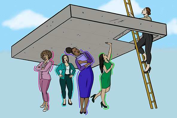 Women standing below a concrete ceiling and one woman climbing ladder through ceiling