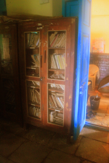 School library (locked) in a rural Maharashtra secondary school, India.