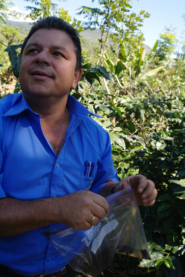Ricardo Zuniga, and agronomist and member of the CoopeTarrazu Cooperative in Costa Rica, teaches farmers how to take soil samples to evaluate the environmental health of their land.