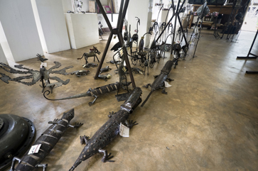 Metal crocodiles for sale at Wonder Welder's Workshop in Dar es Salaam, Tanzania.