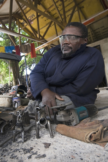 Joseph Mpepo, originally from a southern region of Tanzania close to the Zambian border, has extremely limited use of his legs, and like most employees, works on the ground.